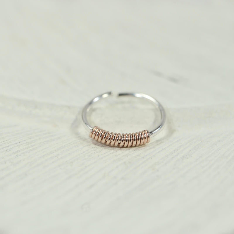 nose ring silver with pink gold wrap accent