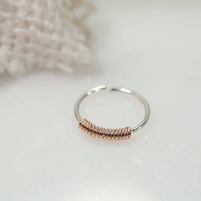 tiny hoop earring silver wrapped with pink gold