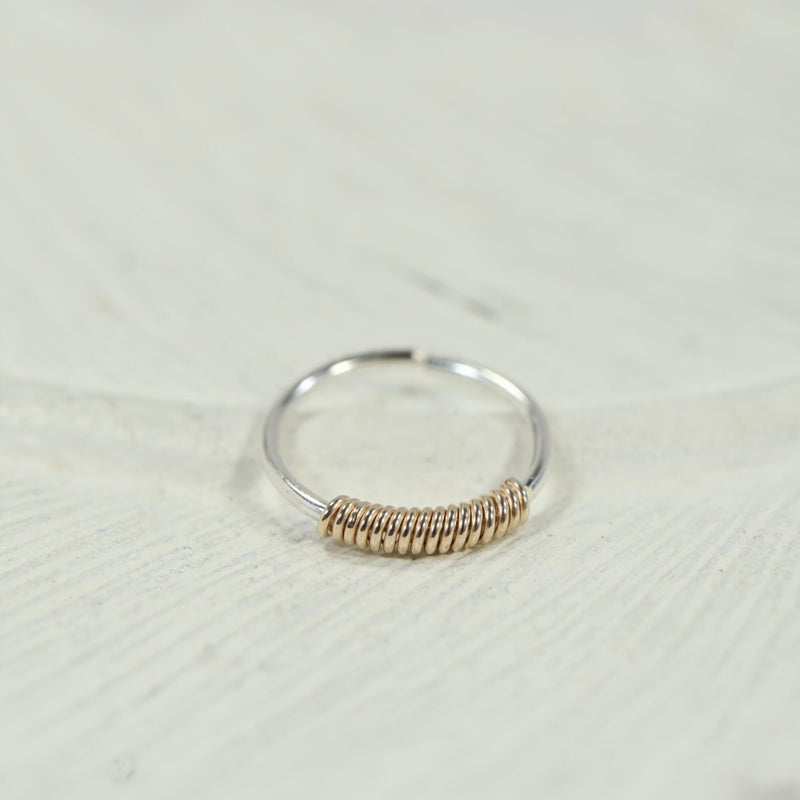 nose ring silver with gold wrap accent