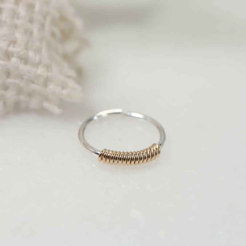 tiny hoop earring silver wrapped with gold