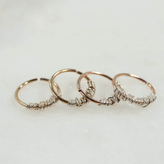 tangled endless hoop earrings gold or pink gold with silver