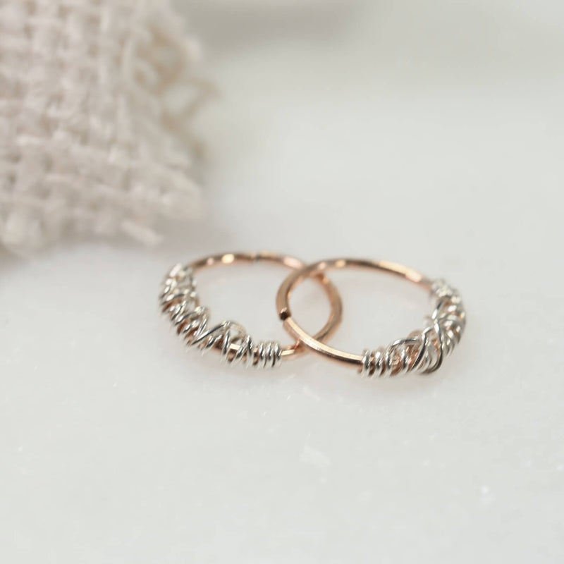 tangled endless hoop earrings pink gold with silver
