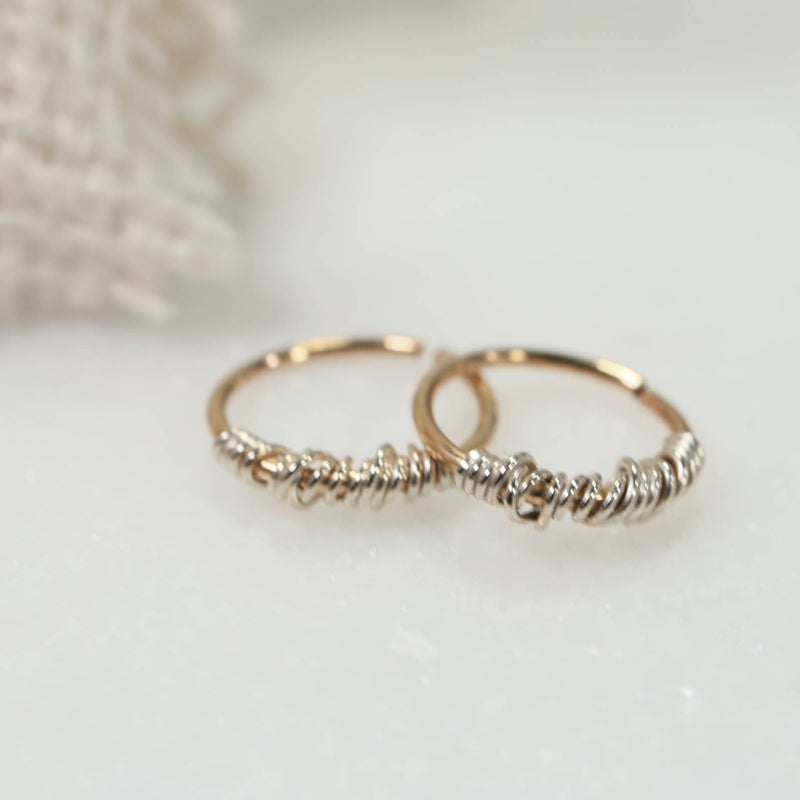 tangled endless hoop earrings gold with silver
