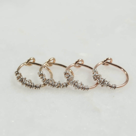 tangled tiny hoop earrings gold, pink gold with silver