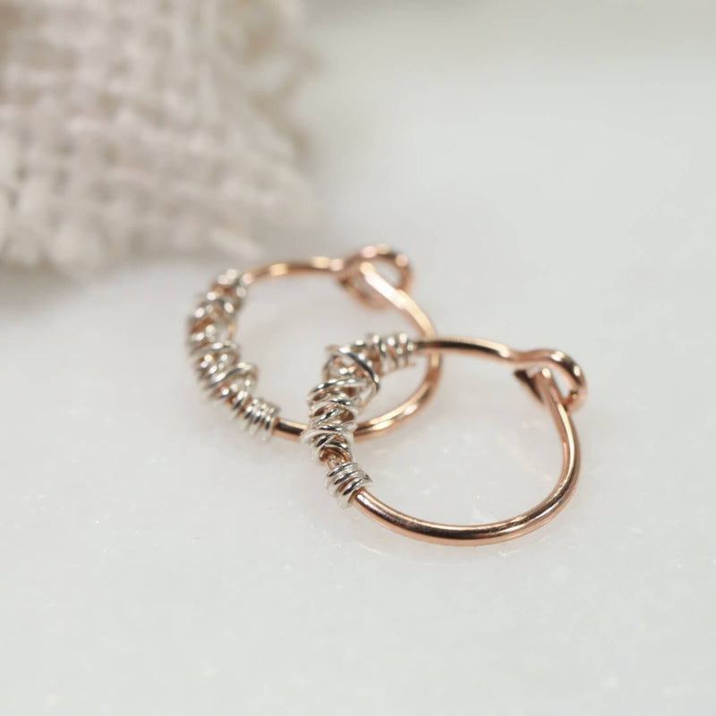 tangled tiny hoop earrings pink gold with silver