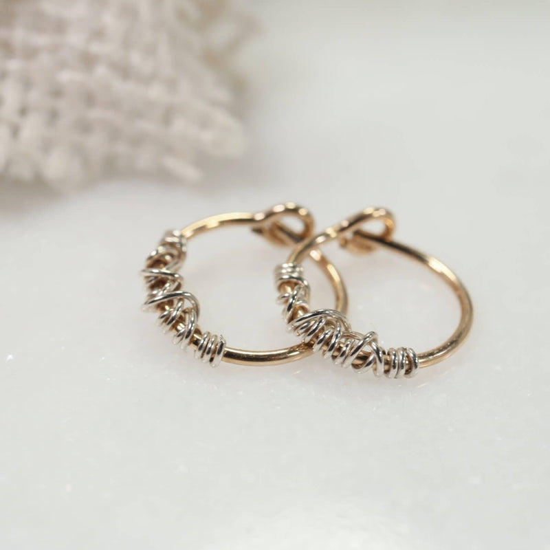tangled tiny hoop earrings gold with silver