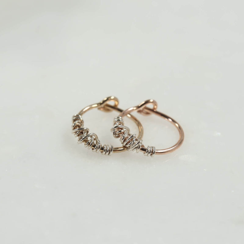 golds tangled tiny hoop earring gold with silver, pink gold with silver
