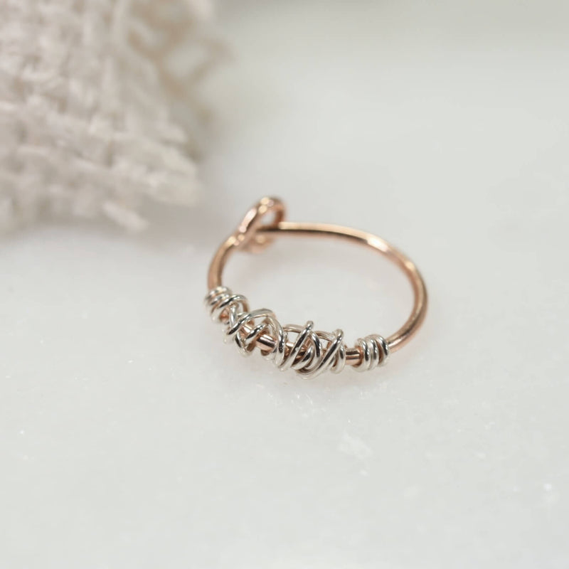 golds tangled tiny hoop earring pink gold with silver