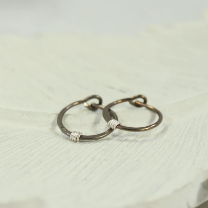 tiny hoop earring hammered & wrapped bronze