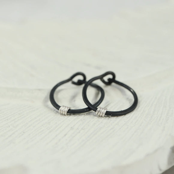 tiny hoop earring hammered & wrapped black, bronze, rainbow