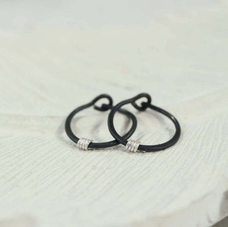 tiny hoop earring hammered & wrapped black