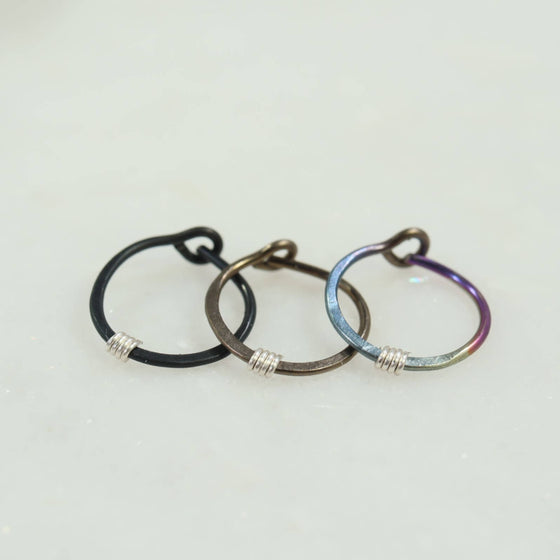 cartilage earring hammered & wrapped black bronze rainbow