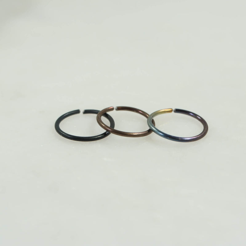 niobium endless cartilage earring black, niobium, rainbow