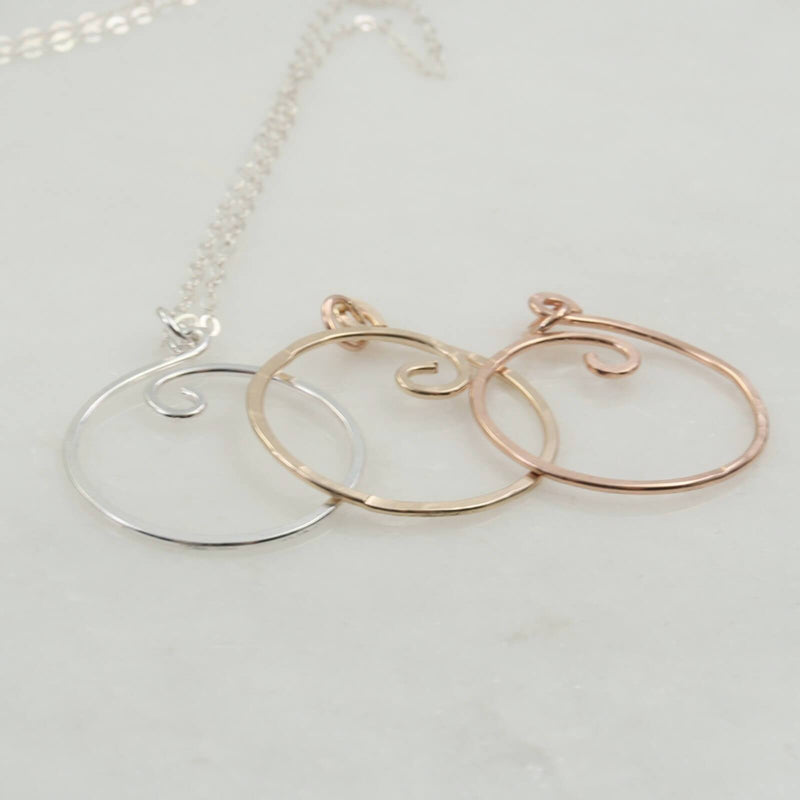 charm holder necklace silver, gold, pink gold