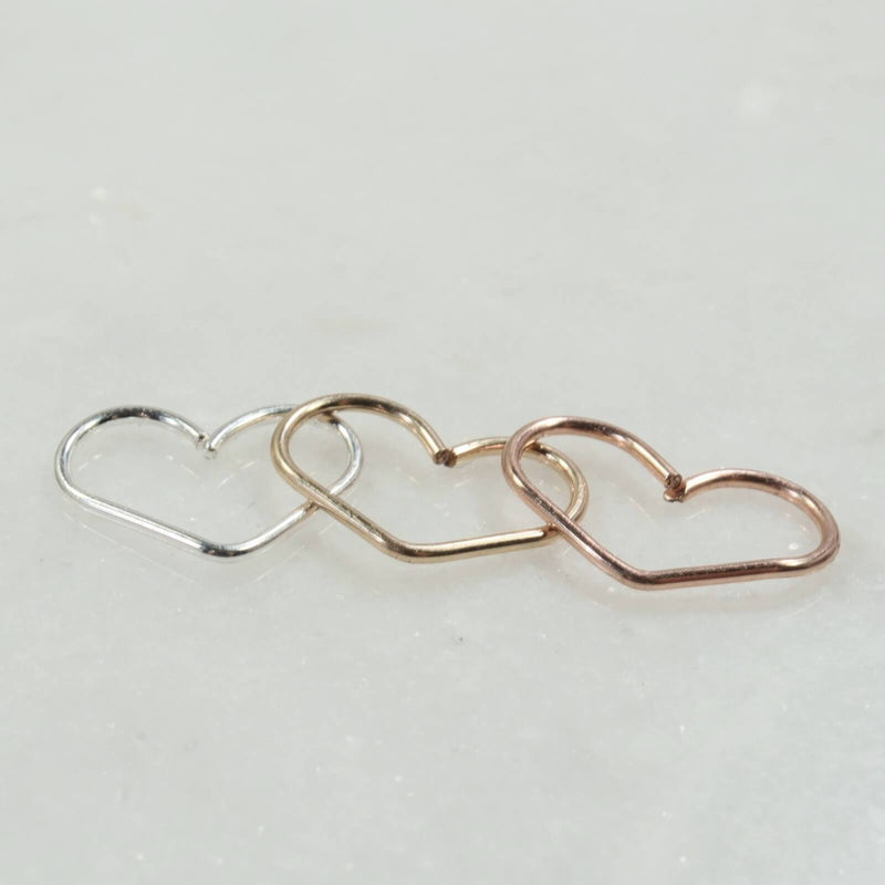 daith heart hoop earring silver, gold, pink gold