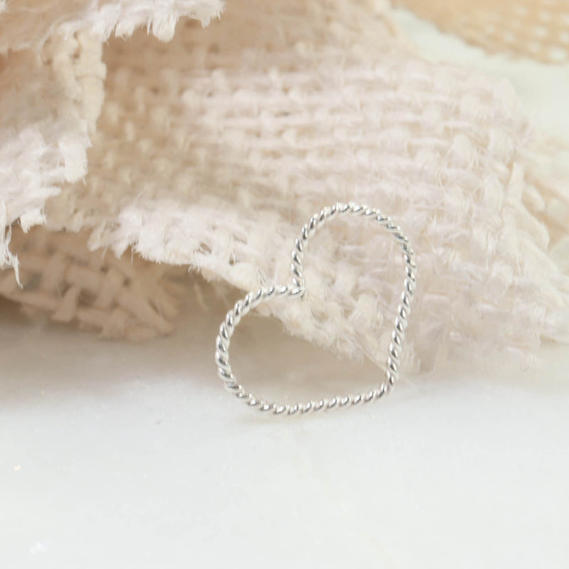 dot twist heart tragus hoop silver