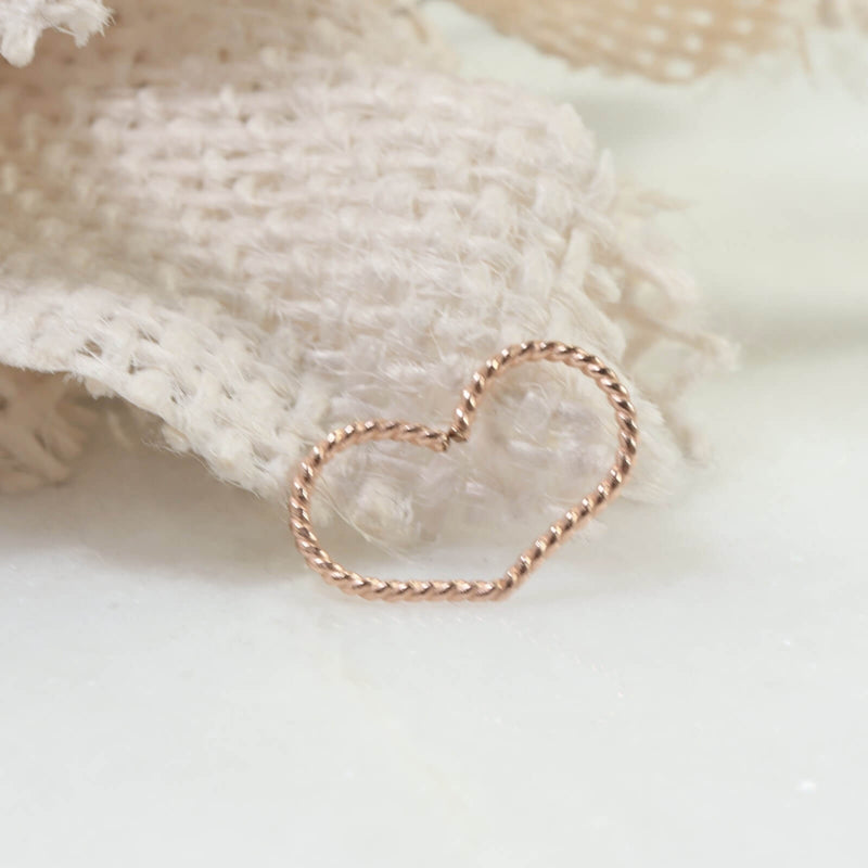 dot twist heart tragus hoop pink gold