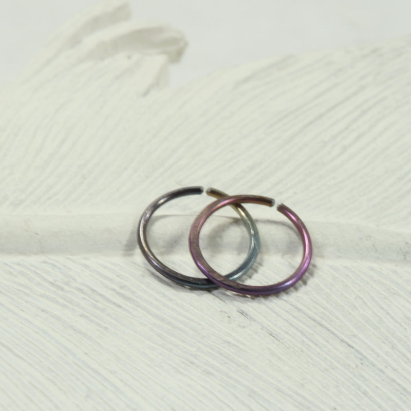 hammered rainbow niobium endless hoops