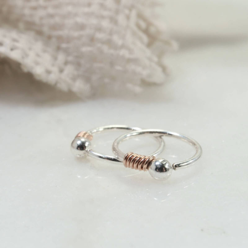 tiny wrapped ball hoop earrings pink gold