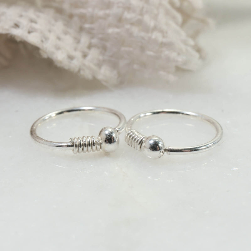 tiny wrapped ball hoop earrings silver
