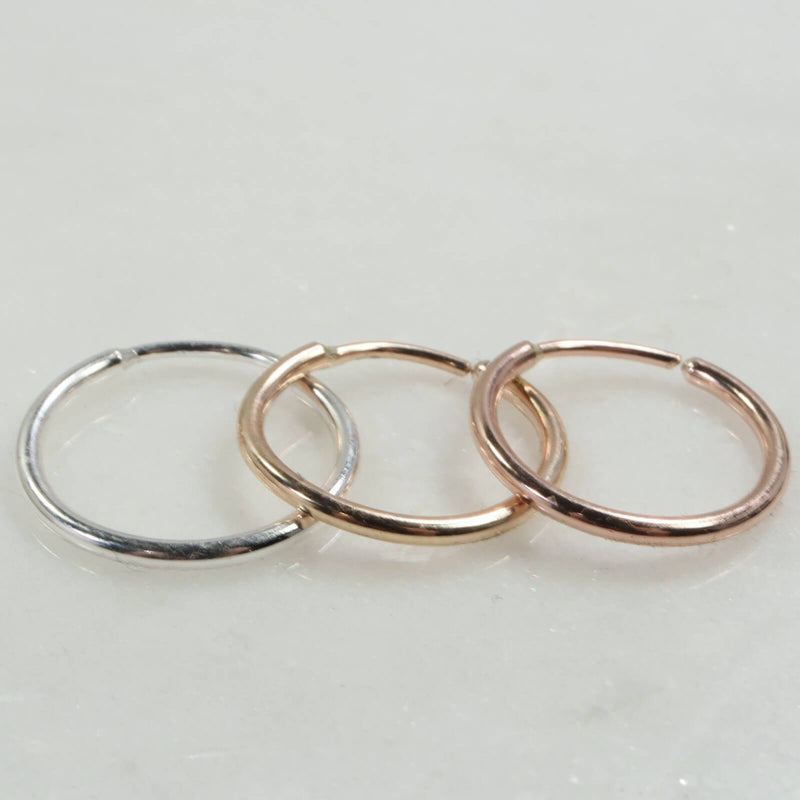 Illusion single hoop earring silver, gold, pink gold 16 gauge