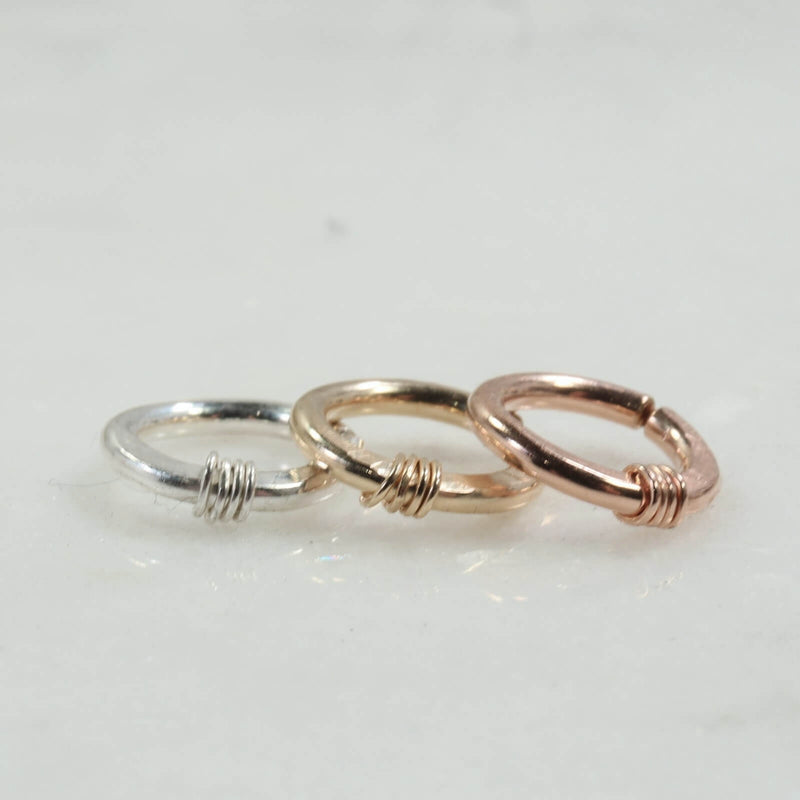 hammered & wrapped hoop earring single silver, gold, pink gold