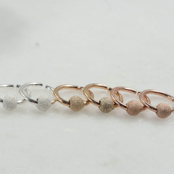stardust beaded endless hoops silver, gold, pink gold