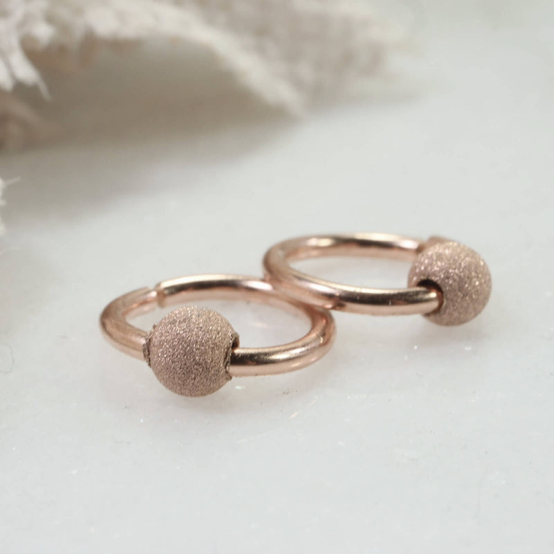 stardust beaded endless hoops pink gold