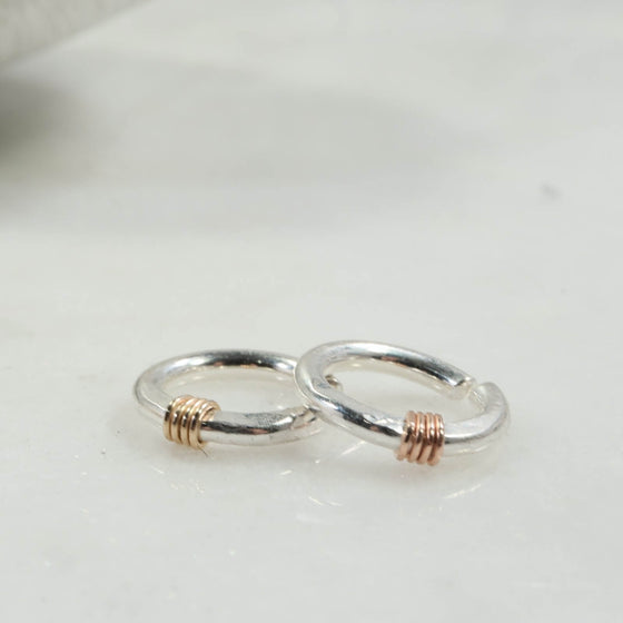 silver hammered & wrapped with gold or pink gold 14 gauge