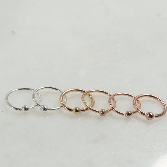 tiny ball hoop earrings silver, gold, rose gold