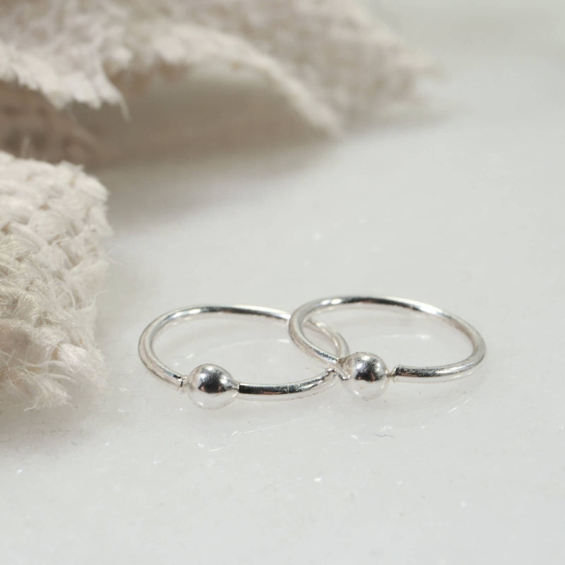 tiny ball hoop earrings silver
