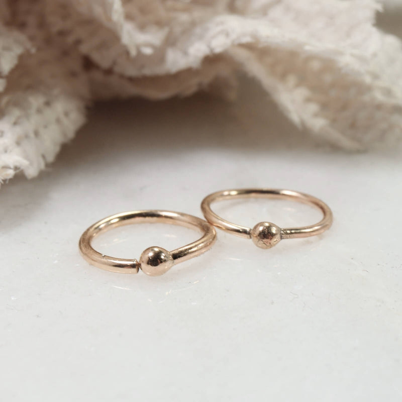 tiny ball hoop earrings 14k yellow gold