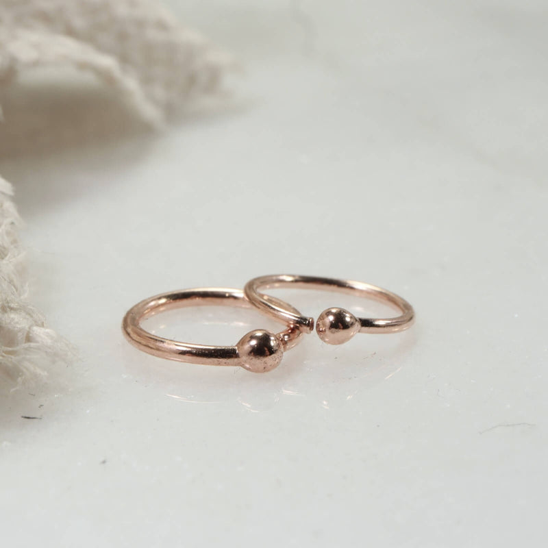 tiny ball hoop earrings 14k rose gold