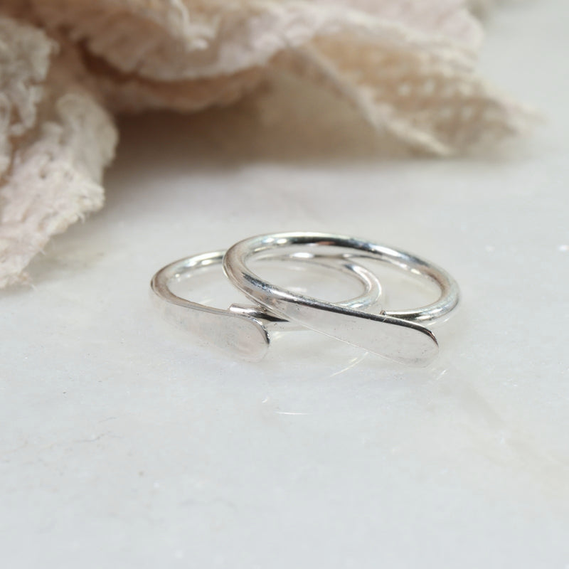 flat hoop earrings 16 gauge silver