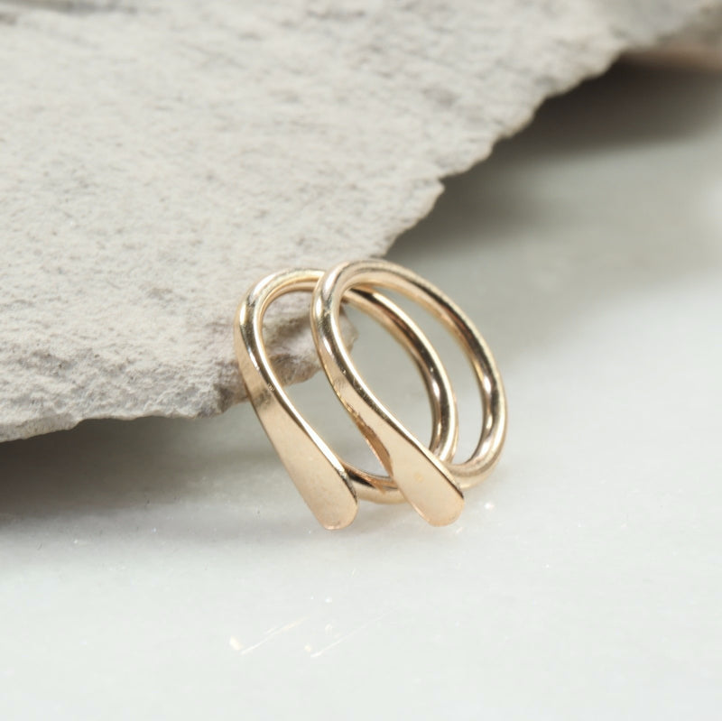 flat hoop earrings 16 gauge gold
