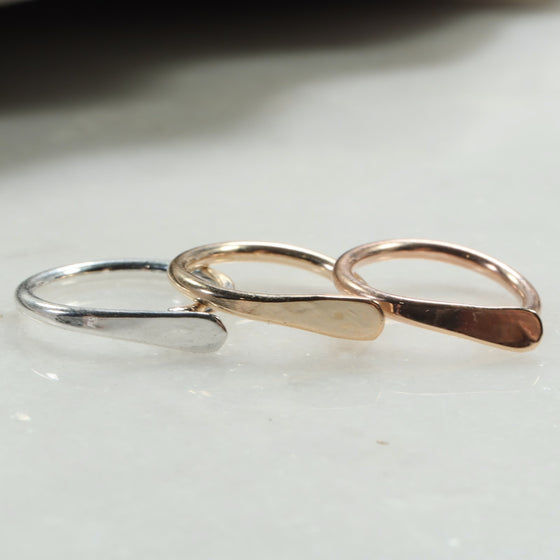 flat gauged hoop earring single silver, gold, pink gold