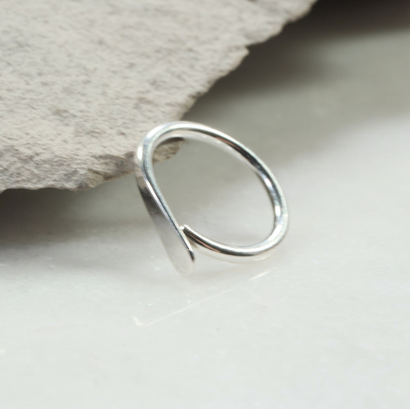 flat gauged hoop earring single silver