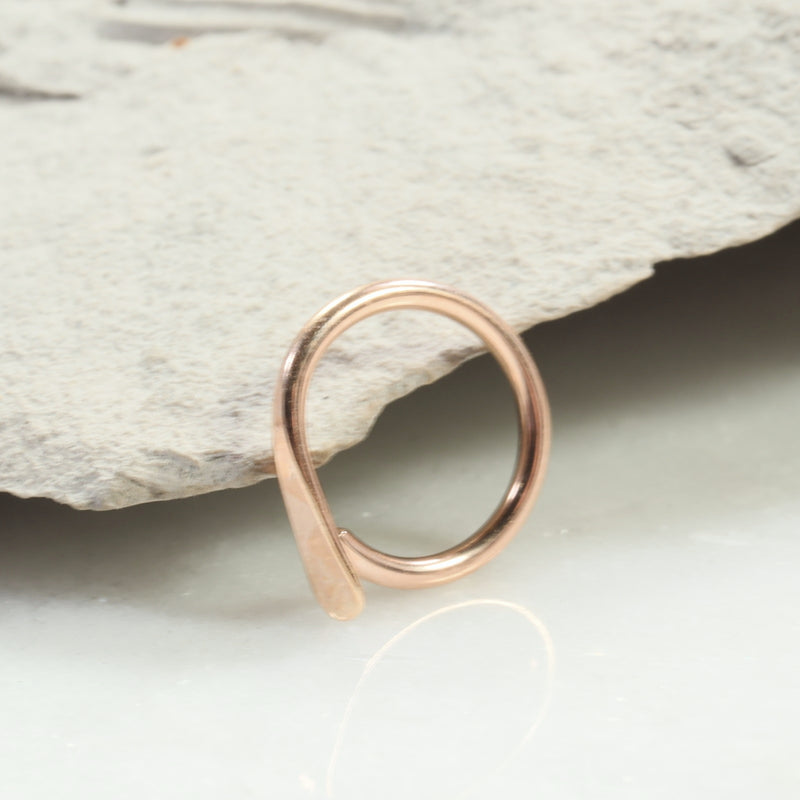 flat gauged hoop earring single pink gold