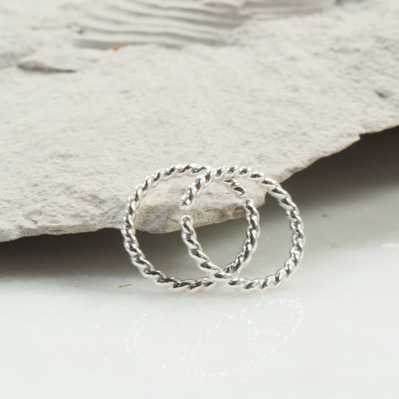 dot twist 16 gauge hoop earrings silver