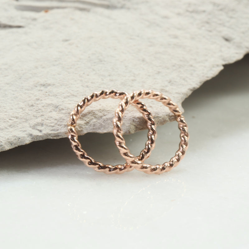 dot twist 16 gauge hoop earrings pink gold