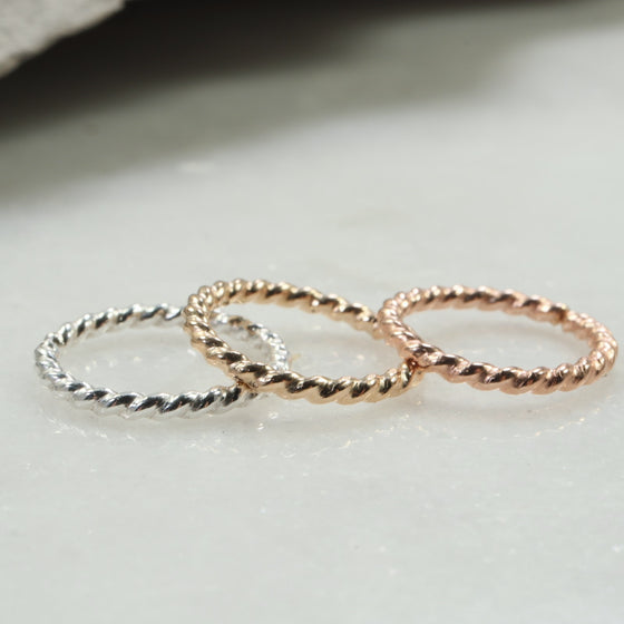 dot twist 16 gauge single silver, gold, pink gold