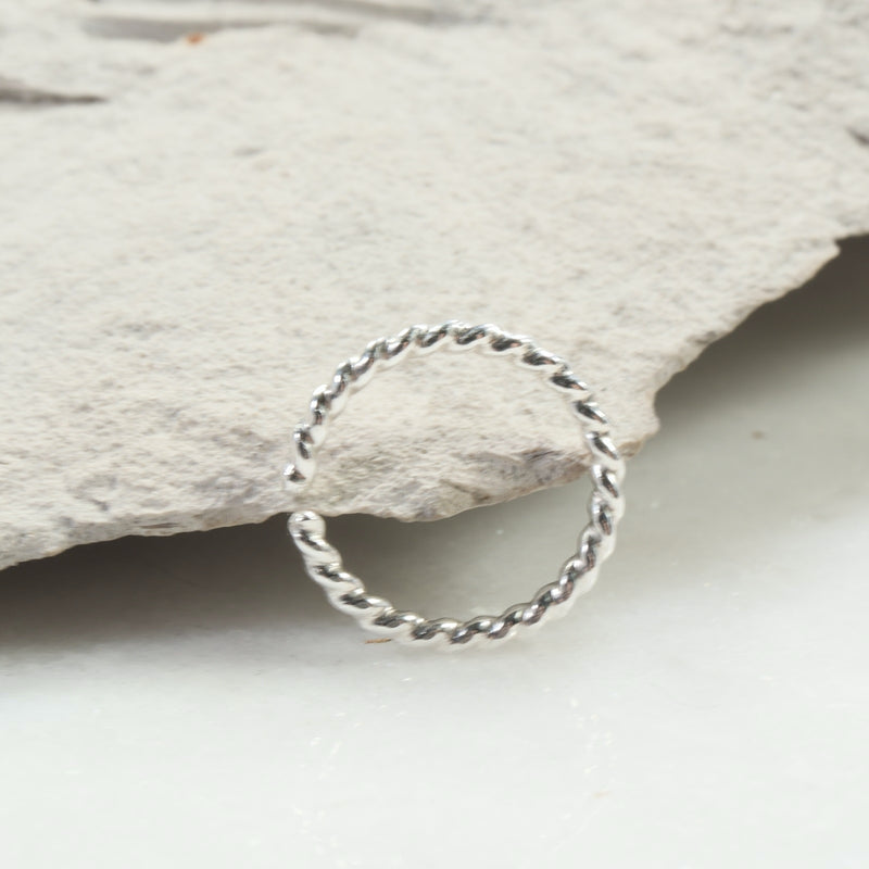 dot twist septum ring silver