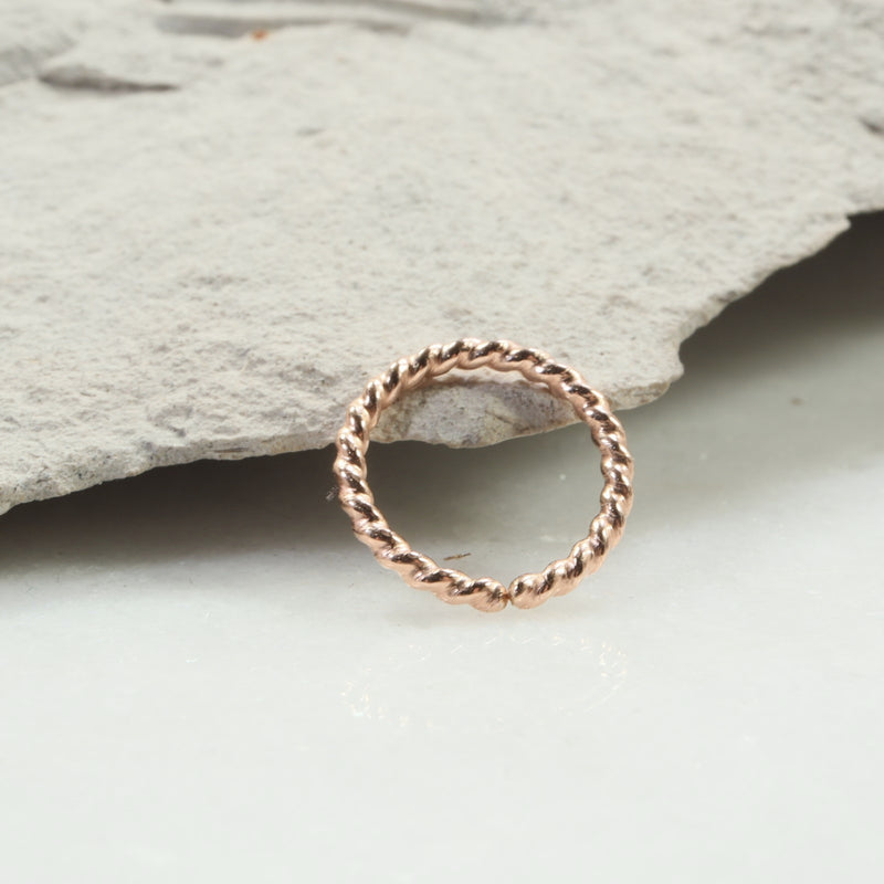 dot twist septum ring pink gold