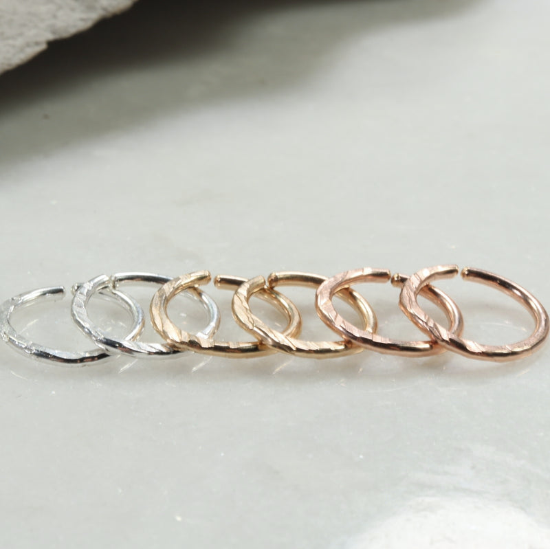 cross cut 14 gauge hoop earrings silver, gold, pink gold