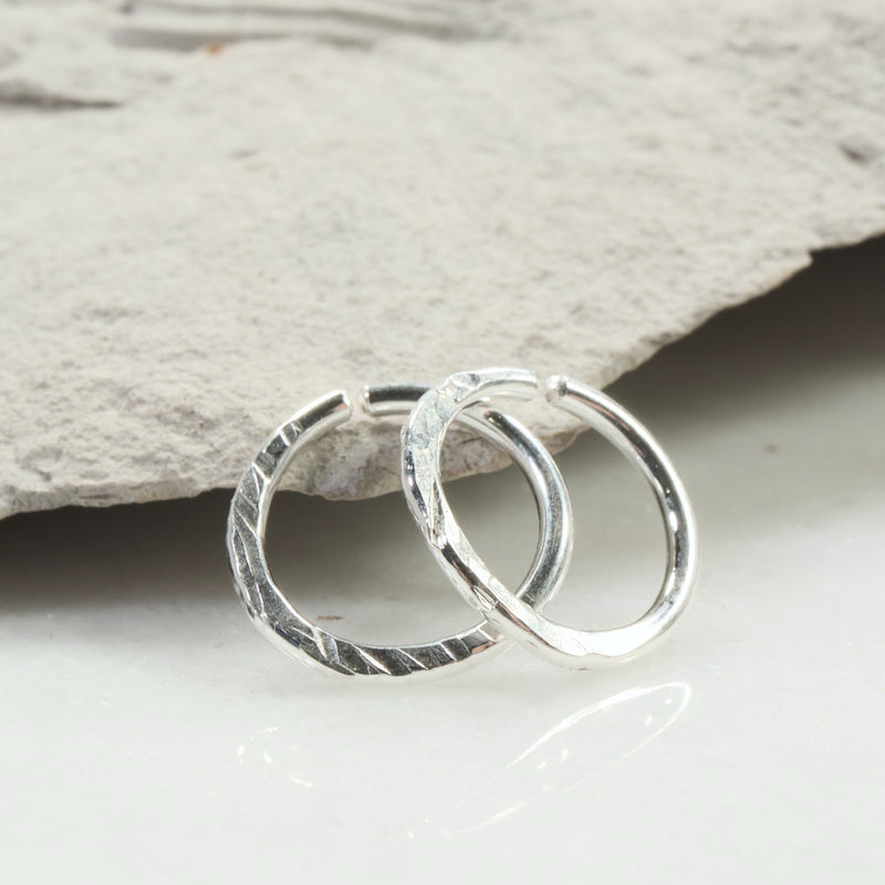 cross cut gauged hoop earrings silver