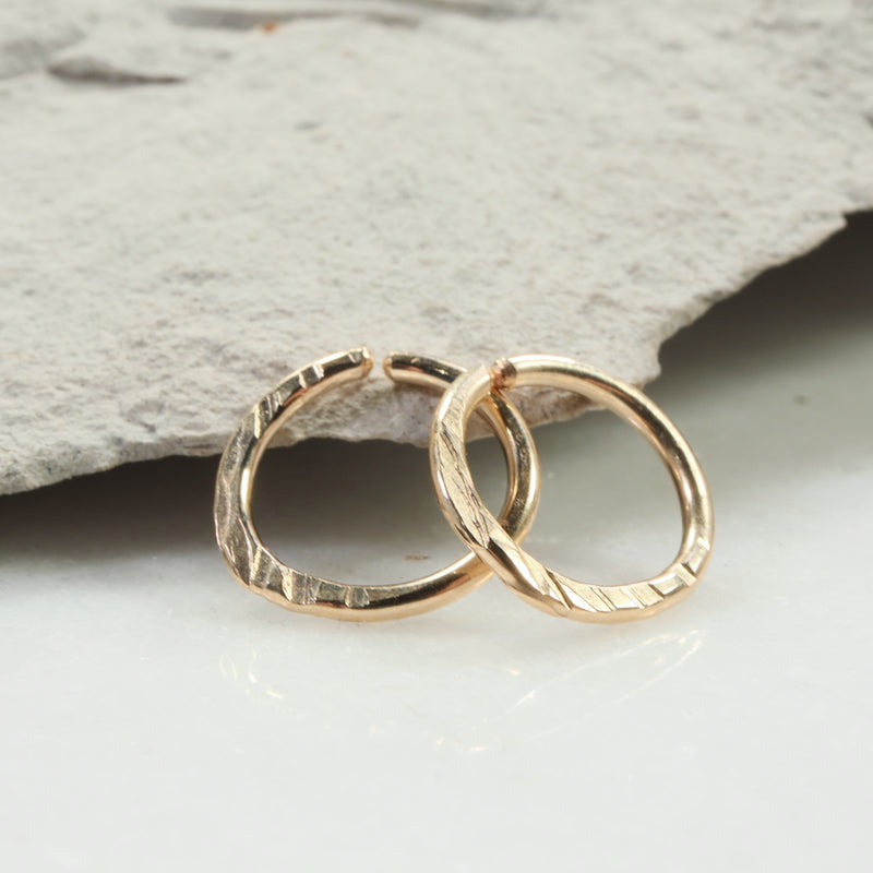 cross cut 14 gauge hoop earrings gold