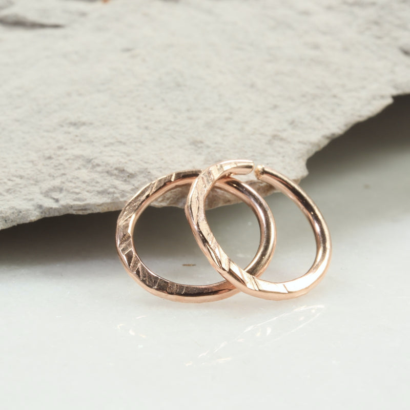 cross cut 14 gauge hoop earrings pink gold