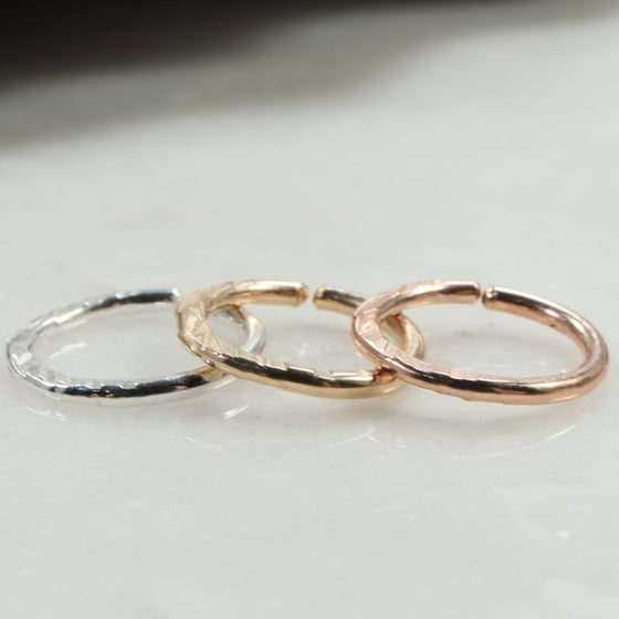 cross cut septum ring silver, gold, pink gold