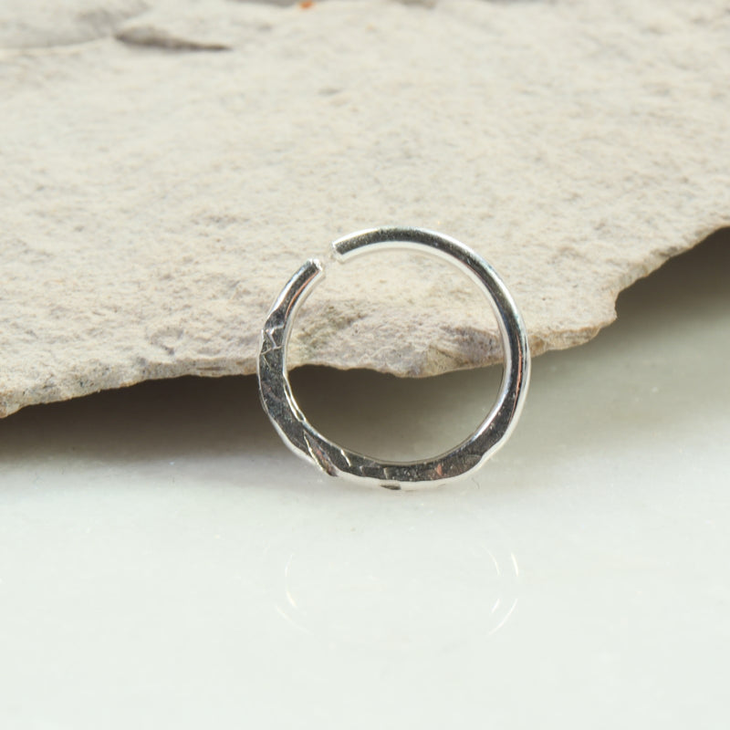 chiseled 14 gauge hoop earring single silver