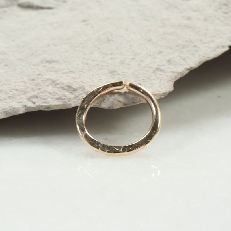 chiseled 14 gauge hoop earring single gold